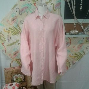 Chico's 100% Linen Oversized blouse Sz 16 to 18